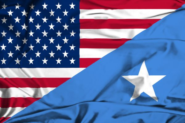 Waving flag of Somalia and USA