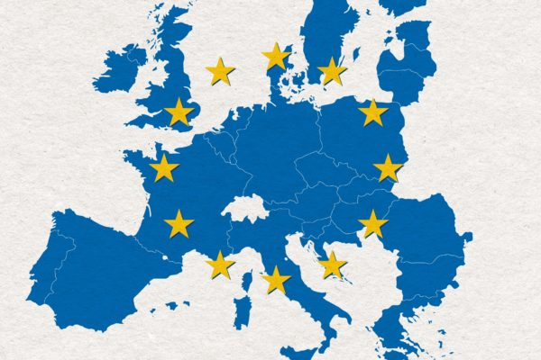 map and flag of European Union on white handmade paper